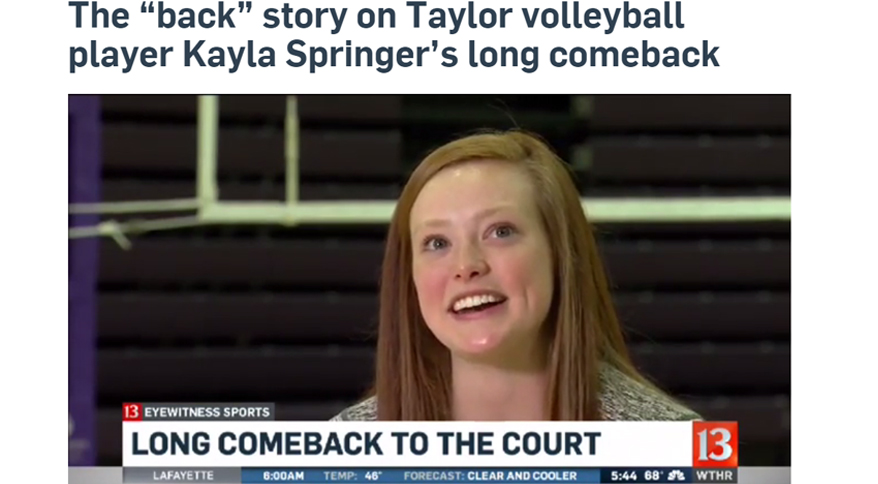 Photo for TU's Springer Featured on WTHR, to Receive Brady Comeback Award